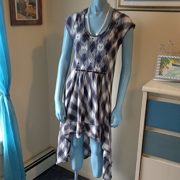 Free People Dresses & Skirts - COMING SOON! FP Buffalo Blue Check High Low Dress